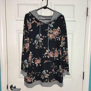 NWOT long floral hoodie